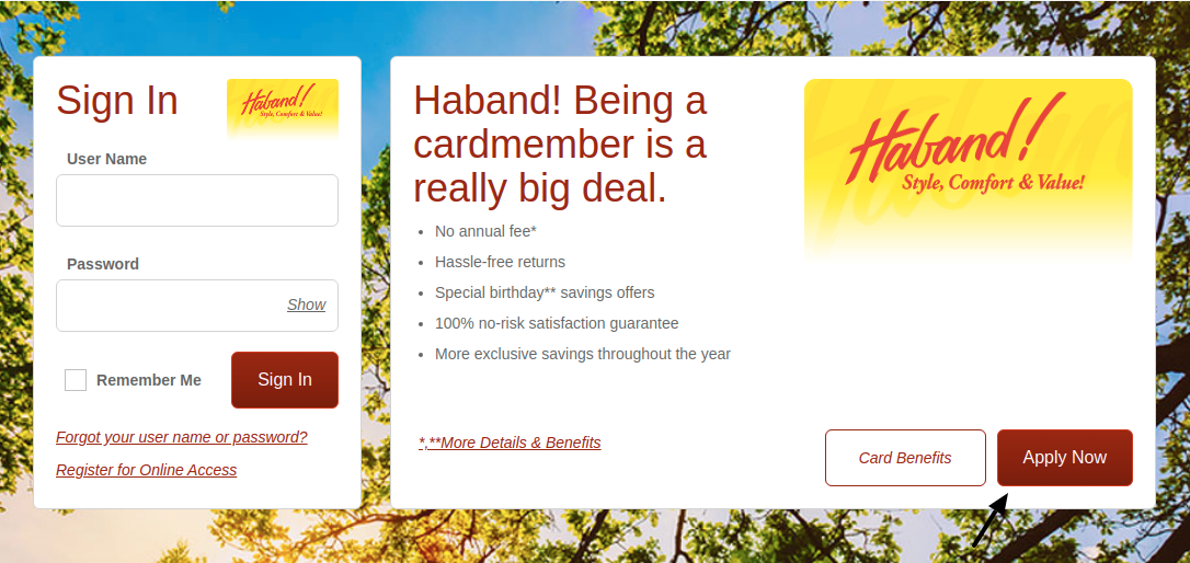Haband Credit Card Apply