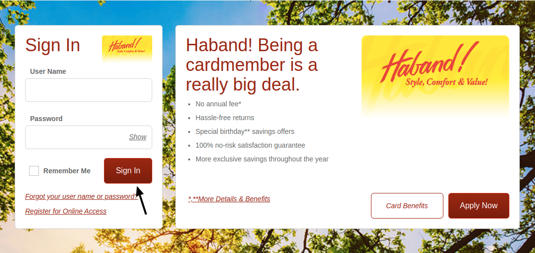 Haband Credit Card Login